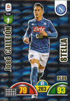 Jose Callejon SSC Napoli 2018/19 Panini Calciatori Adrenalyn XL Plus Stella #518