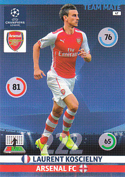 Laurent Koscielny Arsenal 2014/15 Panini Champions League #47