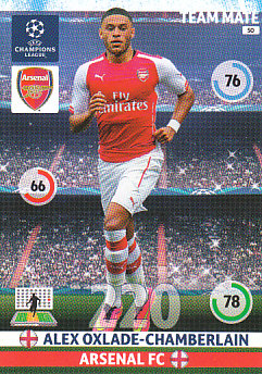 Alex Oxlade-Chamberlain Arsenal 2014/15 Panini Champions League #50