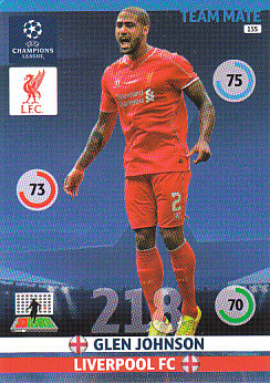 Glen Johnson Liverpool 2014/15 Panini Champions League #155