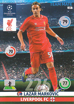 Lazar Markovic Liverpool 2014/15 Panini Champions League #159