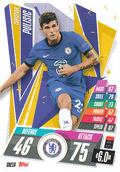 Christian Pulisic Chelsea 2020/21 Topps Match Attax CL #CHE16