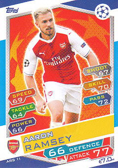 Aaron Ramsey Arsenal 2016/17 Topps Match Attax CL #ARS11