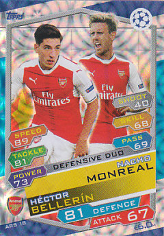 Hector Bellerin / Nacho Monreal Arsenal 2016/17 Topps Match Attax CL Defensive Duo #ARS18