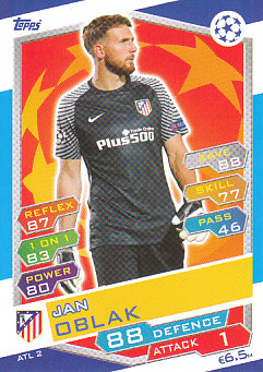 Jan Oblak Atletico Madrid 2016/17 Topps Match Attax CL #ATL02