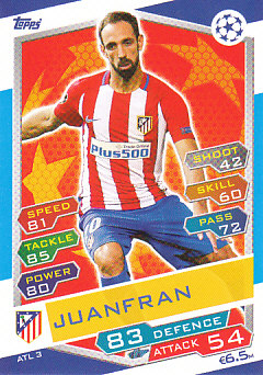 Juanfran Atletico Madrid 2016/17 Topps Match Attax CL #ATL03