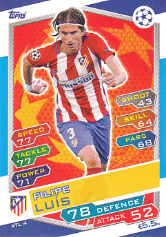Filipe Luis Atletico Madrid 2016/17 Topps Match Attax CL #ATL04