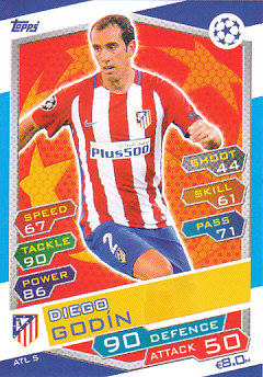 Diego Godin Atletico Madrid 2016/17 Topps Match Attax CL #ATL05
