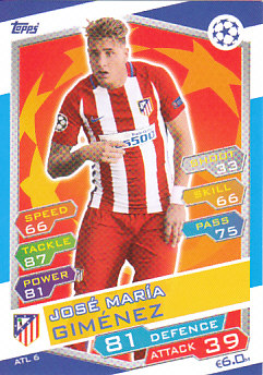 Jose Maria Gimenez Atletico Madrid 2016/17 Topps Match Attax CL #ATL06