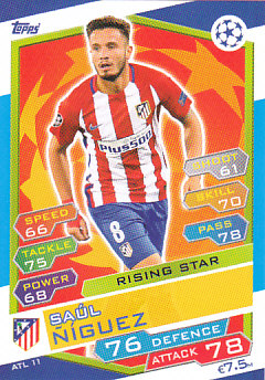 Saul Niguez Atletico Madrid 2016/17 Topps Match Attax CL Rising Star #ATL11