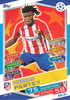 Thomas Partey Atletico Madrid 2016/17 Topps Match Attax CL #ATL13