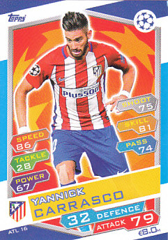 Yannick Carrasco Atletico Madrid 2016/17 Topps Match Attax CL #ATL16