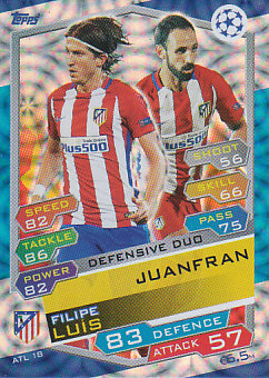 Filipe Luis / Juanfran Atletico Madrid 2016/17 Topps Match Attax CL Defensive Duo #ATL18