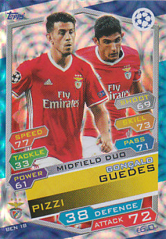 Pizzi / Goncalo Guedes SL Benfica 2016/17 Topps Match Attax CL Midfield Duo #BEN18