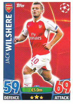 Jack Wilshere Arsenal 2015/16 Topps Match Attax CL #9