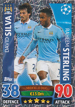 David Silva / Raheem Sterling Manchester City 2015/16 Topps Match Attax CL Midfield Duo #54