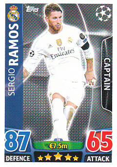 Sergio Ramos Real Madrid 2015/16 Topps Match Attax CL Captain #78