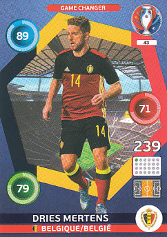 Dries Mertens Belgium Panini UEFA EURO 2016 Game Changer #43