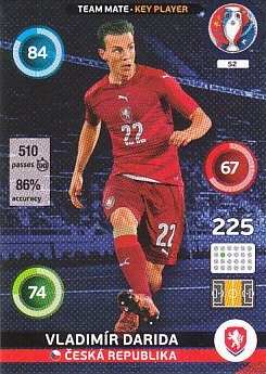 Vladimir Darida Czech Republic Panini UEFA EURO 2016 Key Player#52