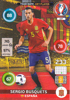 Sergio Busquets Spain Panini UEFA EURO 2016 Key Player#107
