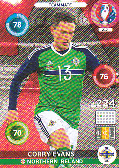 Corry Evans Northern Ireland Panini UEFA EURO 2016 #217
