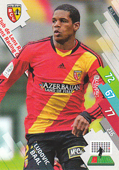 Ludovic Baal RC Lens 2014/15 Foot Adrenalyn XL #RCL-3