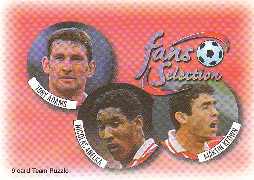 Tony Adams Nicolas Anelka Martin Keown Arsenal 1997/98 Futera Fans' Selection #1