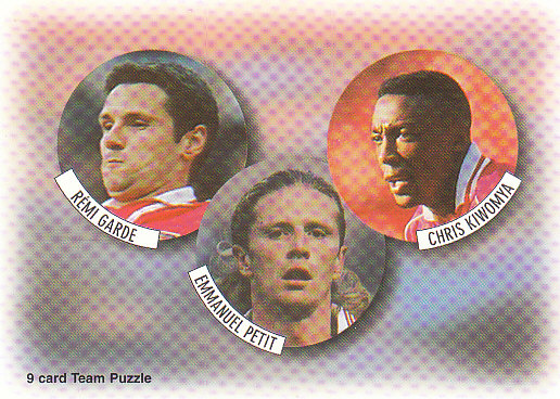 Remi Garde Emmanuel Petit Chris Kiwomya Arsenal 1997/98 Futera Fans' Selection #2