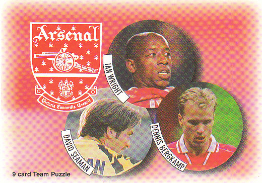 David Seaman Ian Wright Dennis Bergkamp Arsenal 1997/98 Futera Fans' Selection #7