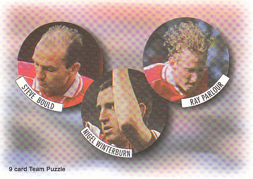 Steve Bould Nigel Winterburn Ray Parlour Arsenal 1997/98 Futera Fans' Selection #8