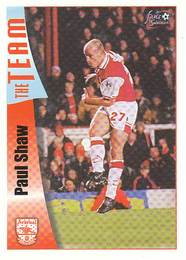 Paul Shaw Arsenal 1997/98 Futera Fans' Selection #31
