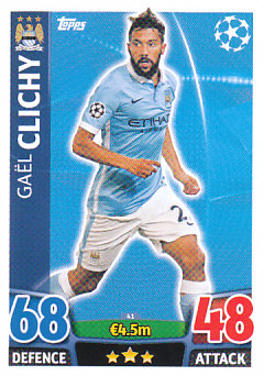 Gael Clichy Manchester City 2015/16 Topps Match Attax CL #41