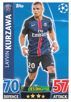 Layvin Kurzawa Paris Saint-Germain 2015/16 Topps Match Attax CL #56