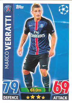 Marco Verratti Paris Saint-Germain 2015/16 Topps Match Attax CL #64