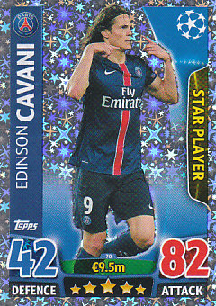 Edinson Cavani Paris Saint-Germain 2015/16 Topps Match Attax CL Star Player #70