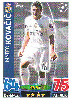 Mateo Kovacic Real Madrid 2015/16 Topps Match Attax CL #82