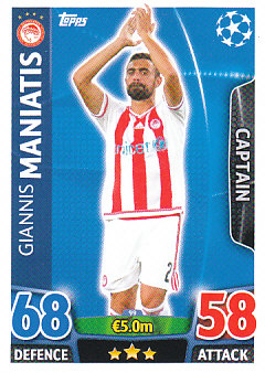 Giannis Maniatis Olympiacos FC 2015/16 Topps Match Attax CL Captain #99