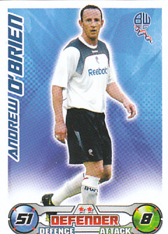 Andrew O'Brien Bolton Wanderers 2008/09 Topps Match Attax #59
