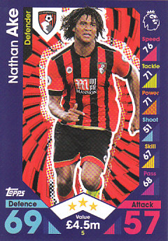 Nathan Ake AFC Bournemouth 2016/17 Topps Match Attax #5