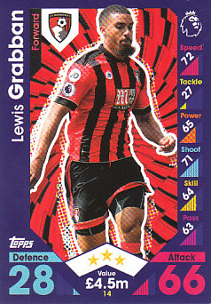 Lewis Grabban AFC Bournemouth 2016/17 Topps Match Attax #14