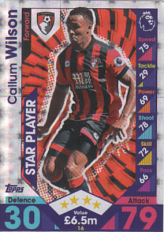 Callum Wilson AFC Bournemouth 2016/17 Topps Match Attax Star Player #16