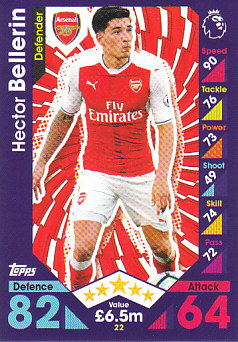 Hector Bellerin Arsenal 2016/17 Topps Match Attax #22