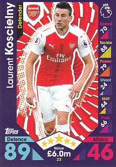 Laurent Koscielny Arsenal 2016/17 Topps Match Attax #23