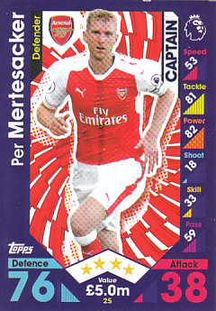 Per Mertesacker Arsenal 2016/17 Topps Match Attax Captain #25