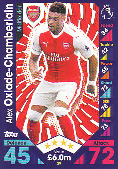 Alex Oxlade-Chamberlain Arsenal 2016/17 Topps Match Attax #29