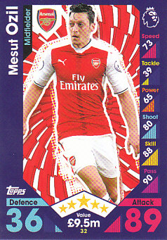 Mesut Ozil Arsenal 2016/17 Topps Match Attax #32