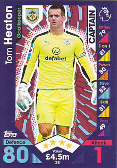 Tom Heaton Burnley 2016/17 Topps Match Attax Captain #38