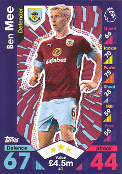 Ben Mee Burnley 2016/17 Topps Match Attax #41