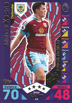 Michael Keane Burnley 2016/17 Topps Match Attax Tough Tackler #44
