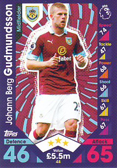 Johann Berg Gudmundsson Burnley 2016/17 Topps Match Attax #48